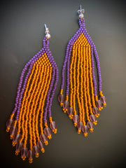 Orange and Purple Seed Bead Tassel/Fringe Earrings with Sterling Silver Post