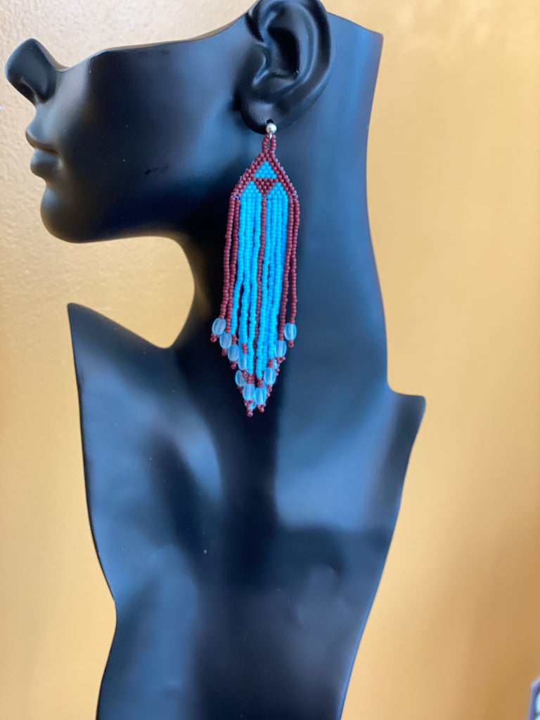 Blue and Brown Seed Bead Tassel/Fringe Earrings with Sterling Silver Post