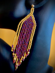 Brushed Gold and Purple Tassel/Fringe Seed Bead Earrings with Gold Filled Post