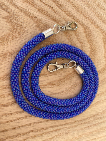 Blue-Purple Bead Crochet Mask Lanyard