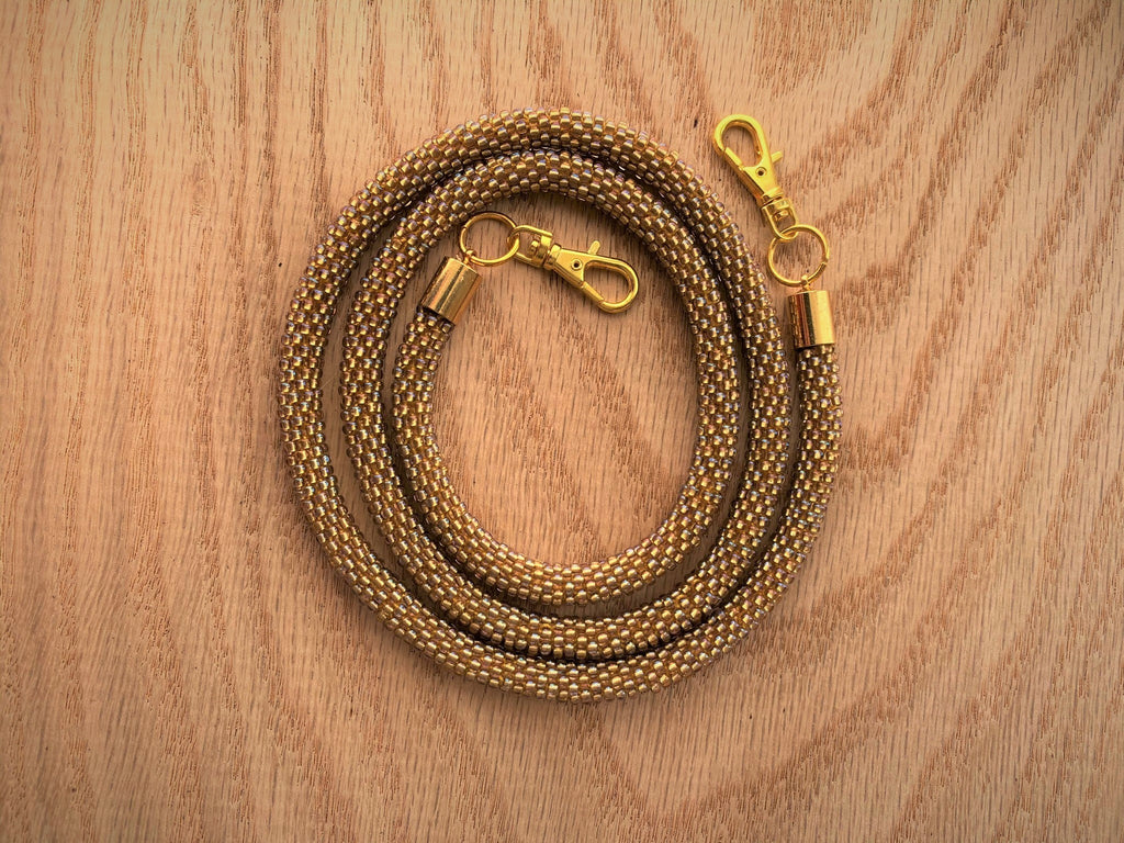 Shiny Gold Bead Crochet Mask Lanyard