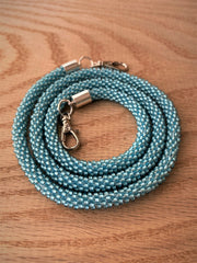 Light Blue Bead Crochet Mask Lanyard