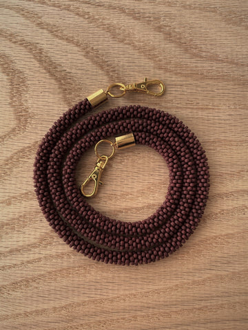Matte Brown Bead Crochet Mask Lanyard