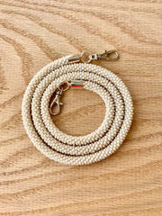 White Bead Crochet Mask Lanyard