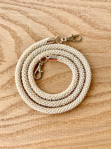 Matte Cream Bead Crochet Mask Lanyard