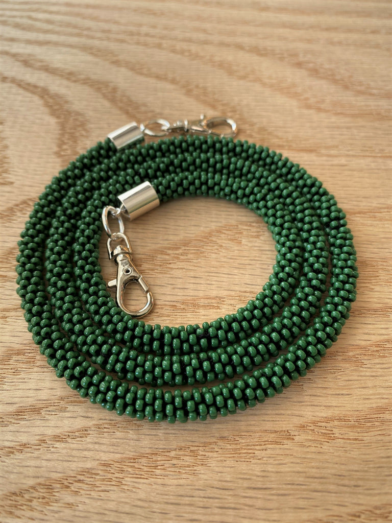 Green Bead Crochet Mask Lanyard