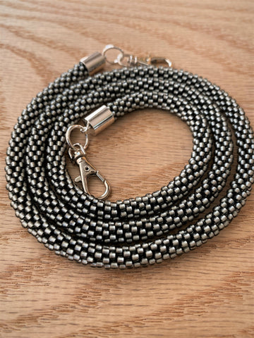 Gray Bead Crochet Mask Lanyard