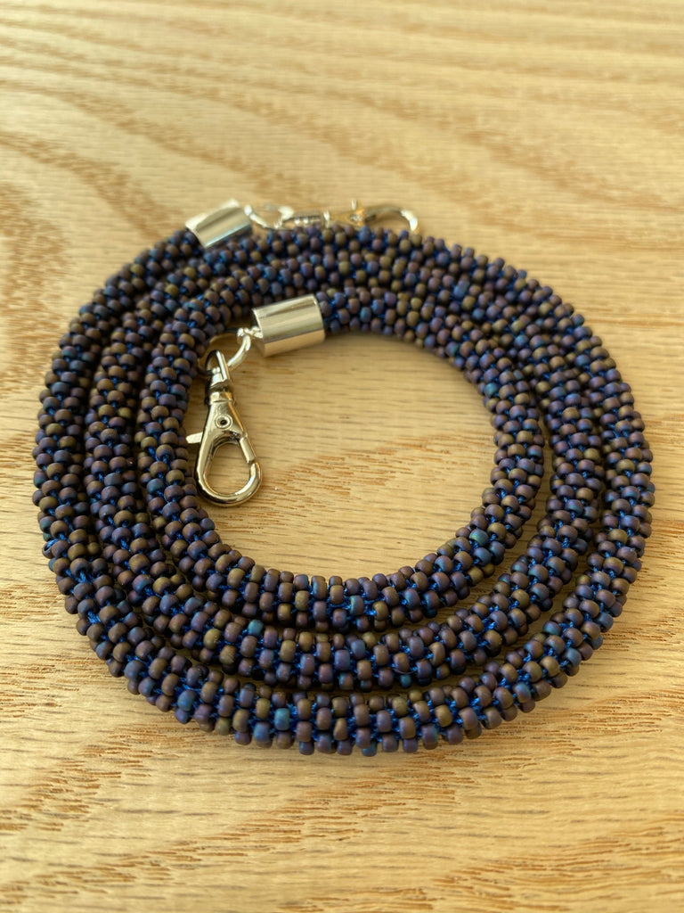 Matte Blue-Brown Bead Crochet Mask Lanyard