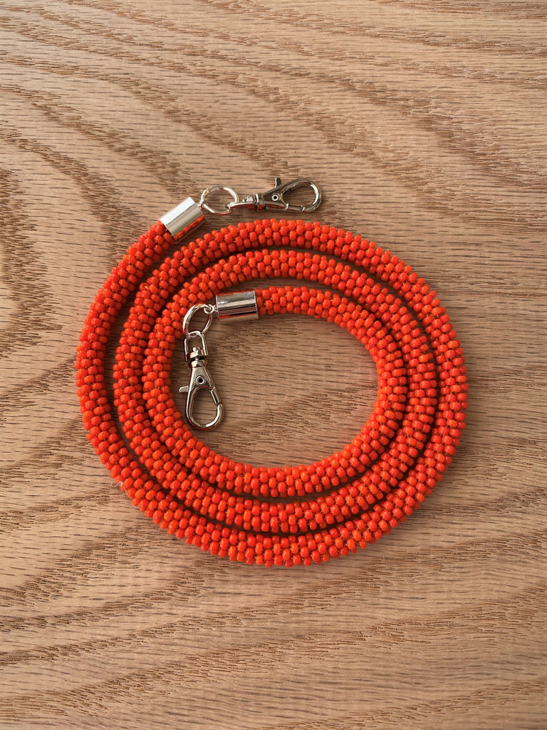 Bright Orange Bead Crochet Mask Lanyard
