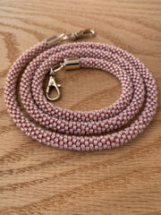 Light Pink Bead Crochet Mask Lanyard
