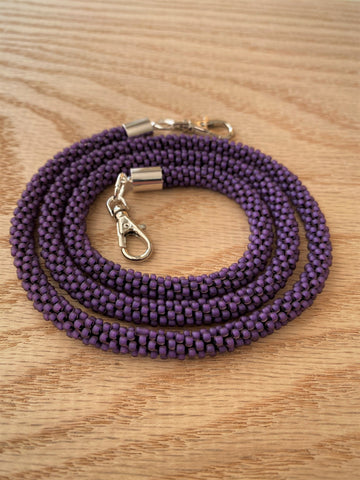 Matte Purple Bead Crochet Mask Lanyard