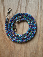 Multi Color Bead Crochet Mask Lanyard