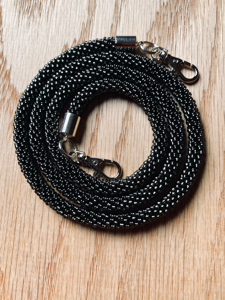 Silver Black Bead Crochet Mask Lanyard