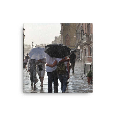 Italian Walk in the Rain Canvas photo