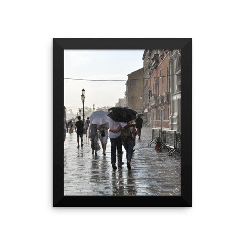 Walking in the Rain Framed Poster Photo