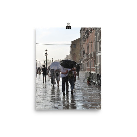 Italian Walk in the Rain Poster Photo