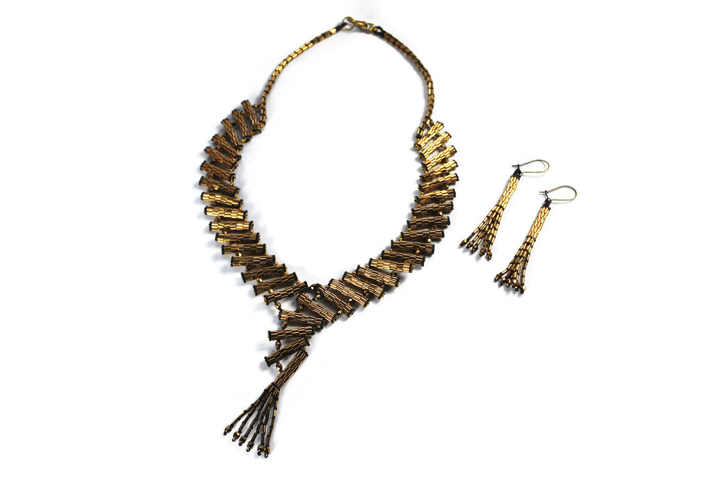 Egyptian Beaded Bronze Collar Necklace -  - 1