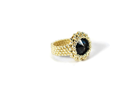 Zircon Round Crystal Silver and Gold Beaded Ring