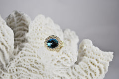 Zircon Round Crystal Silver and Gold Beaded Ring - Susanne Ferrante - 4
