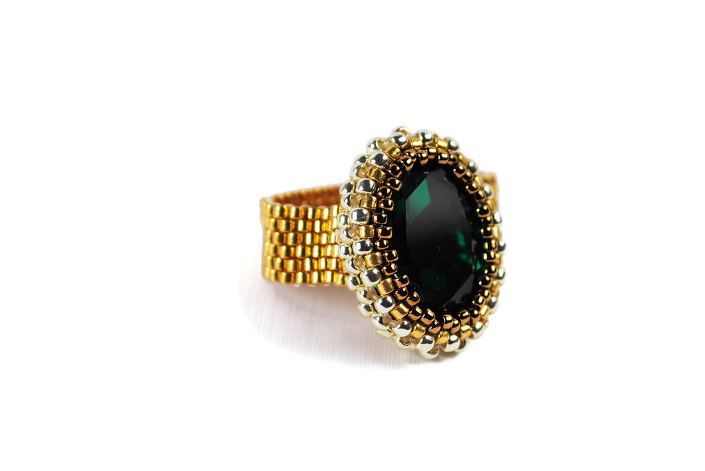 Emerald Gold and Silver Oval Crystal Beaded Ring -  - 1