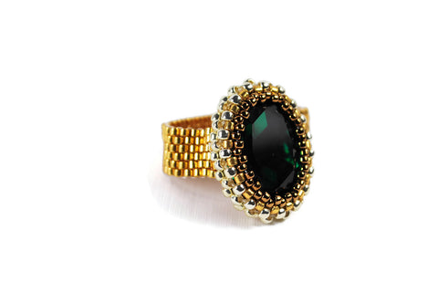 Emerald Gold and Silver Oval Crystal Beaded Ring