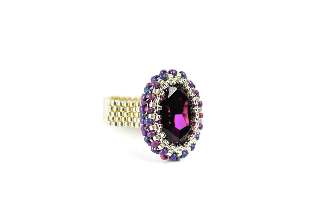 Amethyst and Silver Oval Crystal Beaded Ring -  - 1