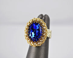 Sapphire Silver, Bronze and Gold Oval Crystal Baded Ring -  - 2