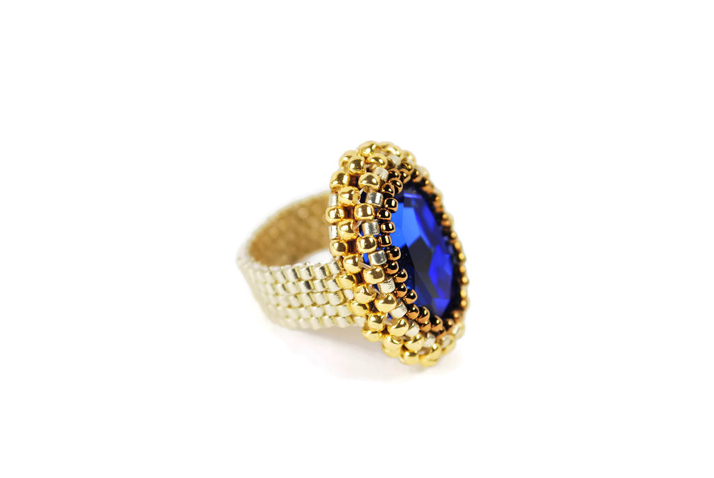 Sapphire Silver, Bronze and Gold Oval Crystal Baded Ring -  - 1