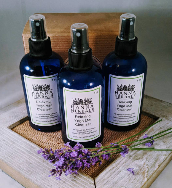 Yoga Mat Cleanser - lavender - essential oils - essential oil blend - essential oil spray - gifts for her - yoga - gifts for mom - Hanna Herbals