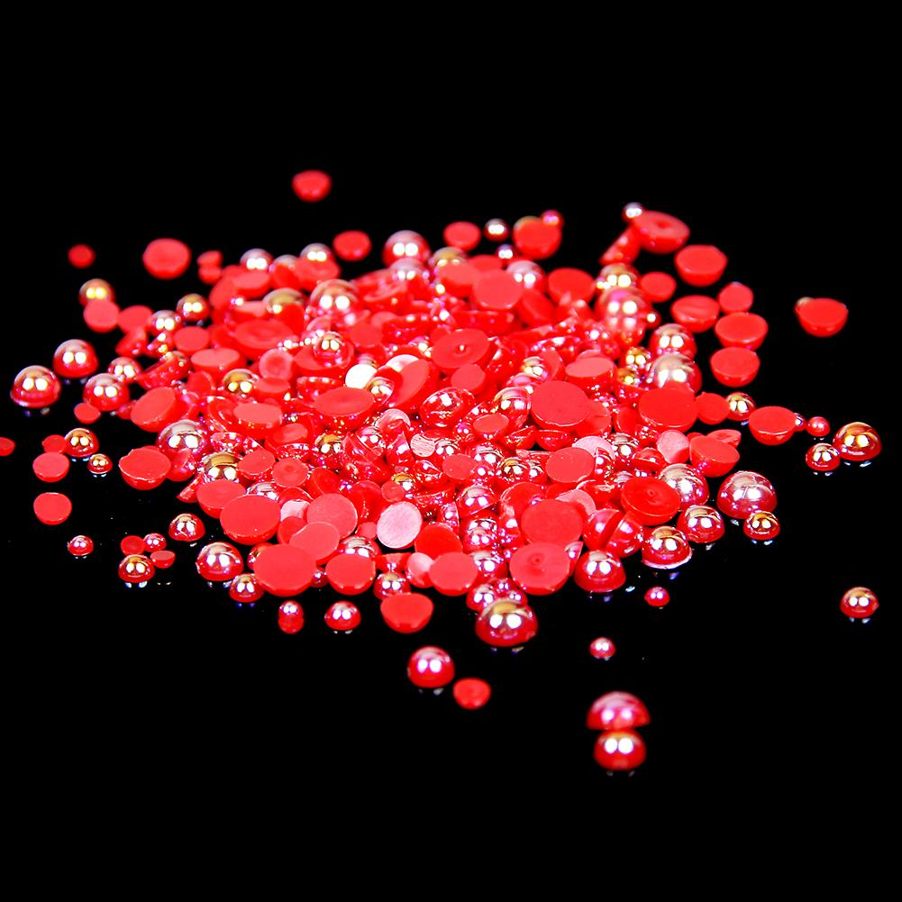 10mm Red AB Resin Round Flat Back Loose Pearls - 500pcs