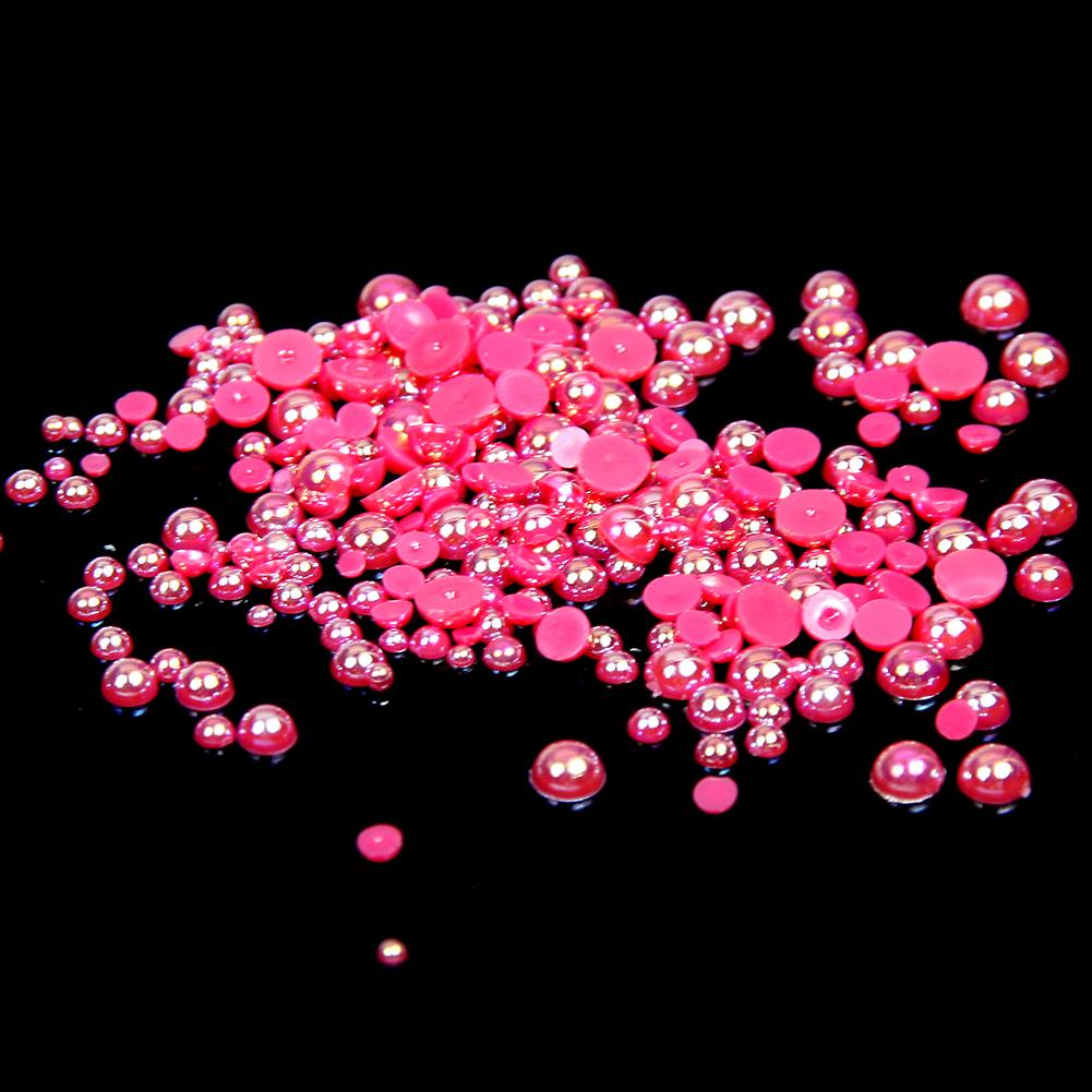 6mm Rose AB Resin Round Flat Back Loose Pearls - 1000pcs