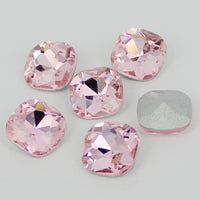 10mm Light Rose Glass Rounded Square Pointback Rhinestones - 10pcs