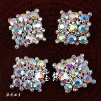 Crystal AB Rhinestone Flatback Rhinestone Button Gold Decoden Alloy Bling Cabochon DIY Phone Case Charm Accessories