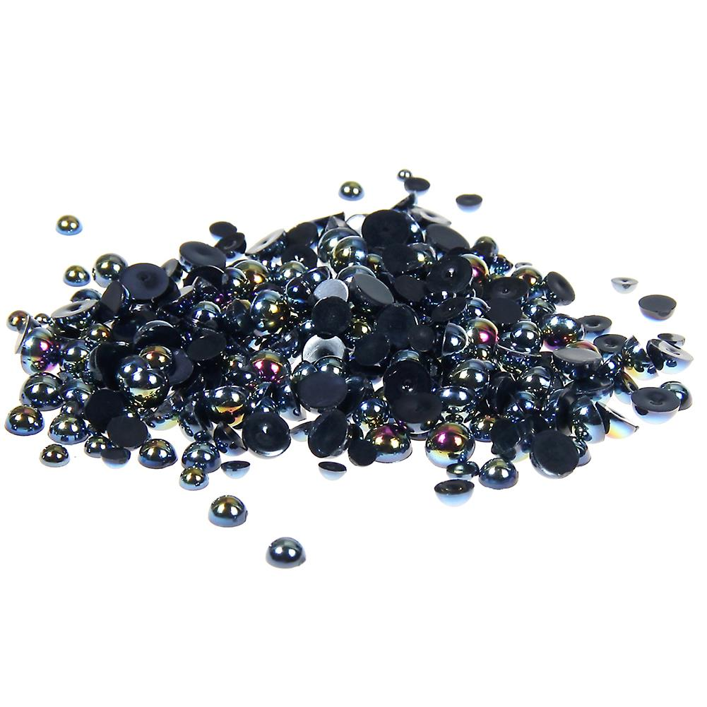 4mm Black AB Resin Round Flat Back Loose Pearls - 2500pcs