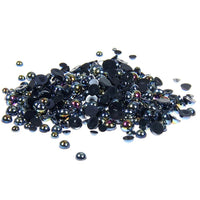 8mm Black AB Resin Round Flat Back Loose Pearls - 500pcs