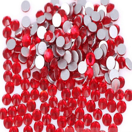 Siam Red Glass Crystal Rhinestone - SS12, 1440 pieces - 3mm Flatback, Round, Loose Bling (TDK-GR1343) - TheDecoKraft - 1