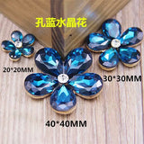 20mm Bling Flower Rhinestone & Crystal Gold Bling Cabochon Alloy Metal Decoden DIY Phone Accessory