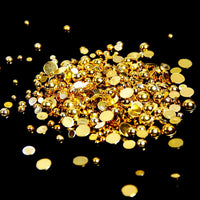 10mm Shiny Gold Metallic Resin Round Flat Back Loose Pearls - 500pcs