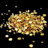 2mm Shiny Gold Metallic Resin Round Flat Back Loose Pearls - 5000pcs