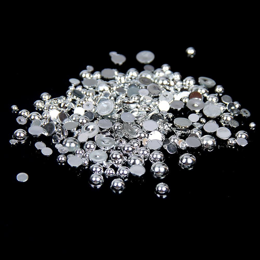 2mm Shiny Silver Metallic Resin Round Flat Back Loose Pearls - 5000pcs