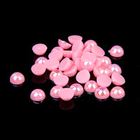 8mm Pink AB Resin Round Flat Back Loose Pearls - 500pcs