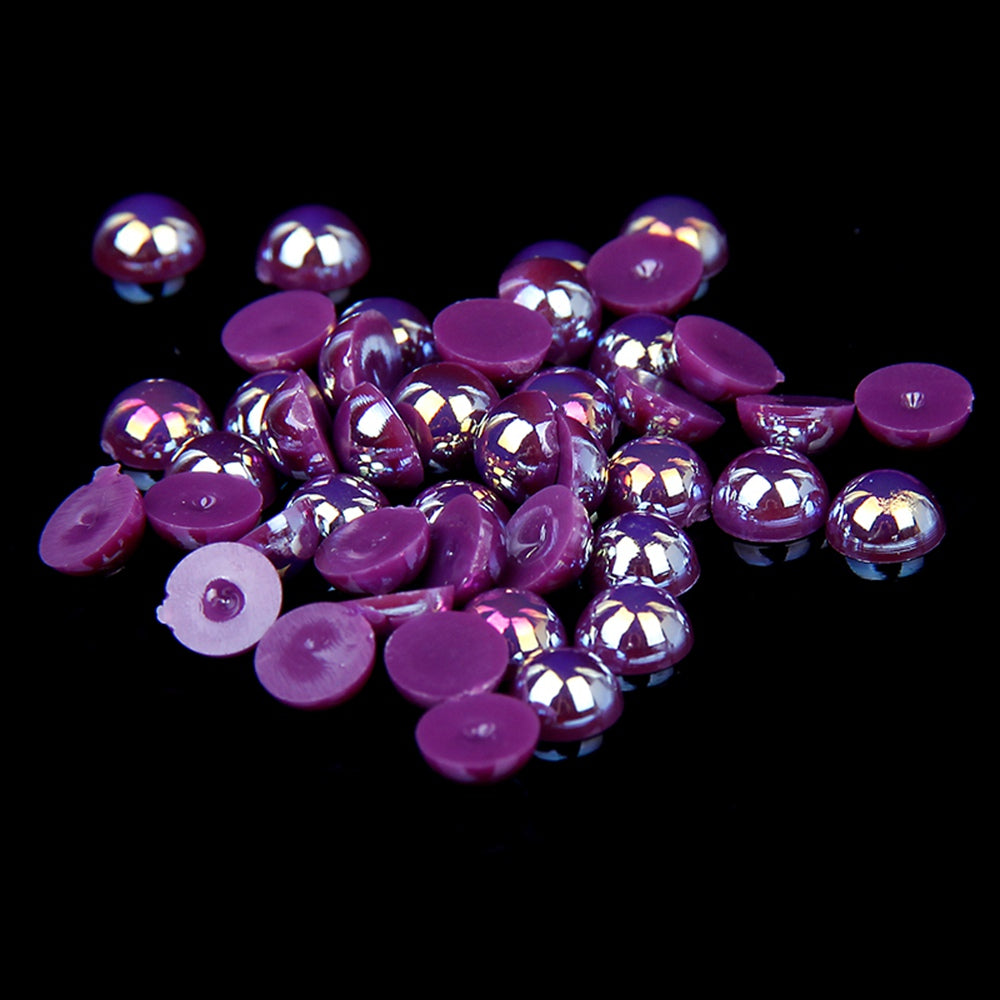 10mm Purple AB Resin Round Flat Back Loose Pearls - 500pcs