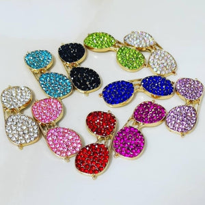 1 Piece Sunglasses Flatback Rhinestone Gold Decoden Alloy Bling Cabochon DIY Phone Case Charm Accessories TDK-B1008