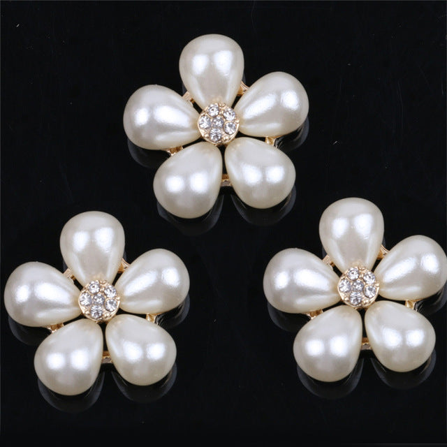 2 Piece Pearl Flower Crystal Rhinestone Center Gold Bling Cabochon Alloy Metal Decoden
