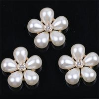 2 Piece Pearl Flower Crystal Rhinestone Center Gold Bling Cabochon Alloy Metal Decoden (TDK-B1055)