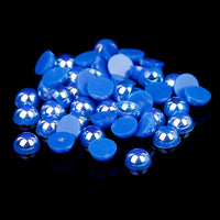 8mm Blue AB Resin Round Flat Back Loose Pearls