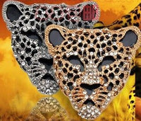 Leopard Head Black & Rhinestone Gold Bling Alloy Decoden DIY Phone Accessory (TDK-B1106)