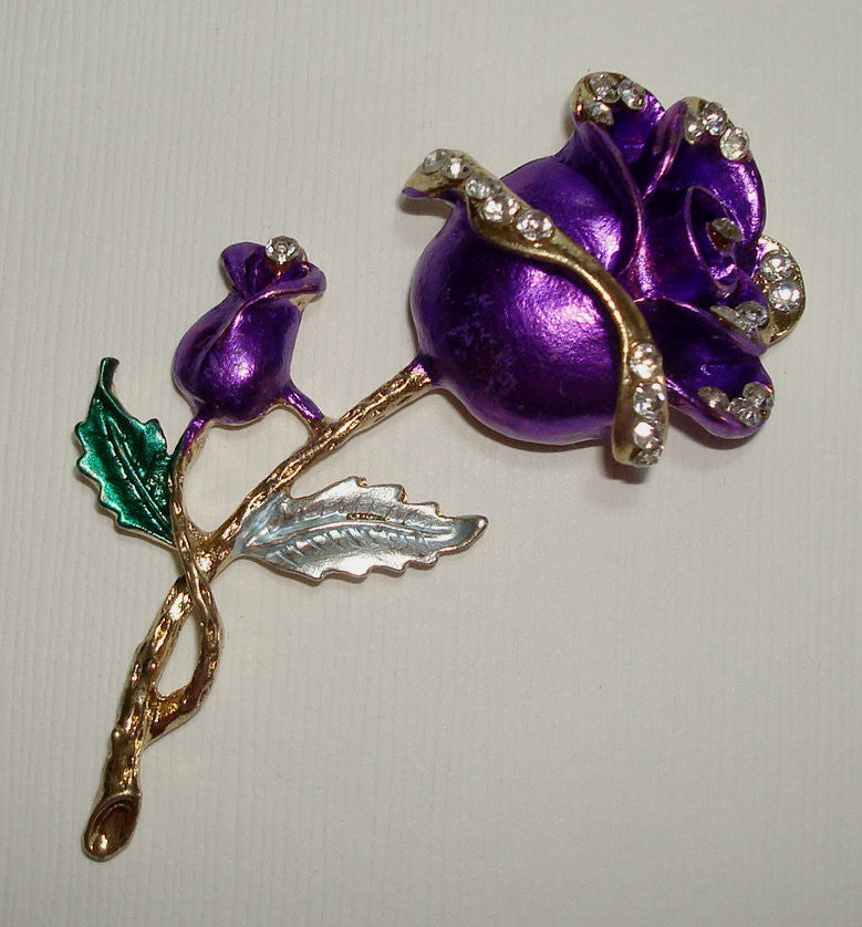 PURPLE ROSE-Flower Flatback DIY Phone Accessories Rhinestones Bling Cabochon Alloy Metal Decoden (TDKB1149)