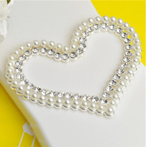 Pearl Rhinestone Silver Heart Alloy Cell Phone DIY Decoration Flatback Decoden