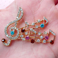 Music Notes Treble Clef Gold Color Rhinestone Alloy Cell Phone DIY Decoration Flatback Decoden